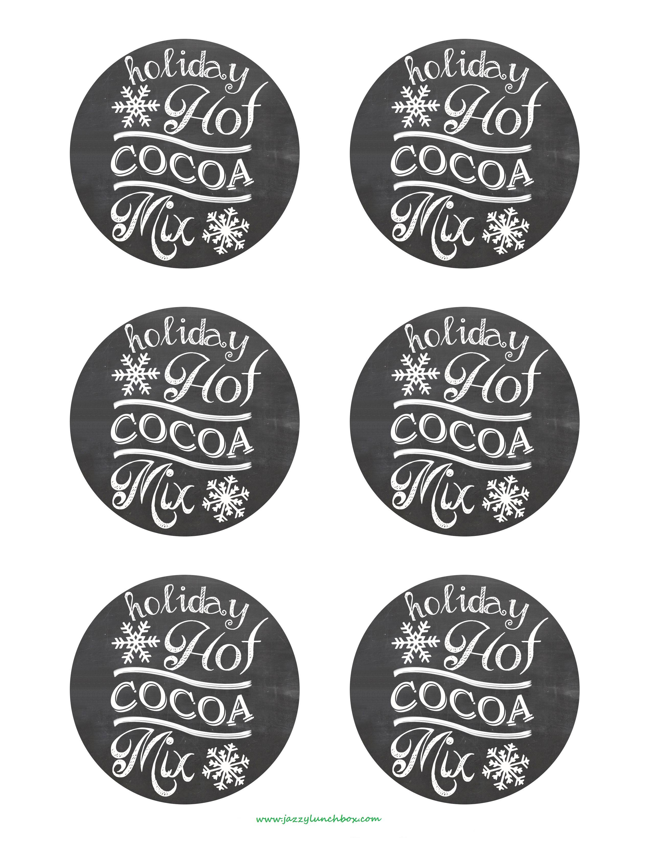 Hot Cocoa Bar Food Tags Free Printables